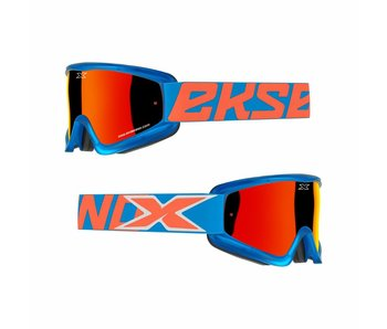 EKS Brand GOX FLAT OUT MIRROR Cyan Blue/ Red mirror lens