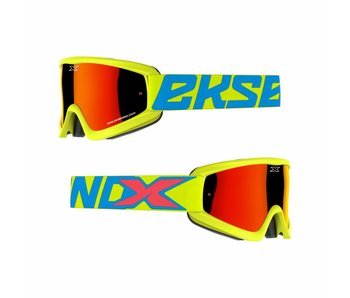 EKS Brand GOX FLAT OUT MIRROR Flo Yellow/ Red mirror lens
