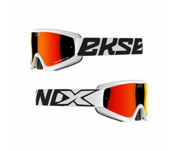 EKS Brand GOX FLAT OUT MIRROR White/ Red mirror lens