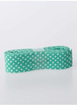 Biaisband Katoen - Licht Groen Met Witte Bolletjes