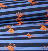 0,9m x 150cm - Cats and Stripes - Bedrukte Tricot