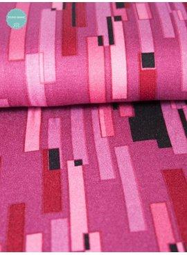 1,6m op 1,45m - Bedrukte viscose tricot - Rectangle Pink