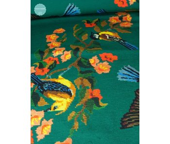 Bedrukte Tricot - Flower And Birds Cross Stitched - 20,00 Euro Per Meter