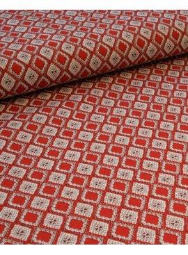 Editex 0,9m op 1,4m - Elastisch Katoen - Diamonds Red