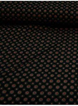 Polytex 8,50€ p/m - Dark Blue Red Cirkels - Elastisch Katoen