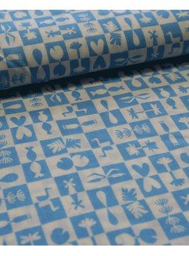 Cloud 9 6€ p/m - Reflection Blue - Bedrukte Katoen