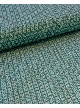 Editex 1,25m op 1,5m - Retro Bloem Groen - Bedrukte Katoen