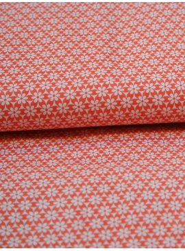Editex 1,5m op 1,5m - Retro Bloem Oranje - Bedrukte Katoen