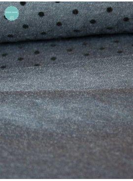 Studio Sanne Bedrukte Punta Di Roma - Grey Flocked Dots - 11,00 Euro Per Meter