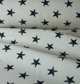 Bedrukte Sweaterstof - Stars White Blue - 15,00 Euro Per Meter
