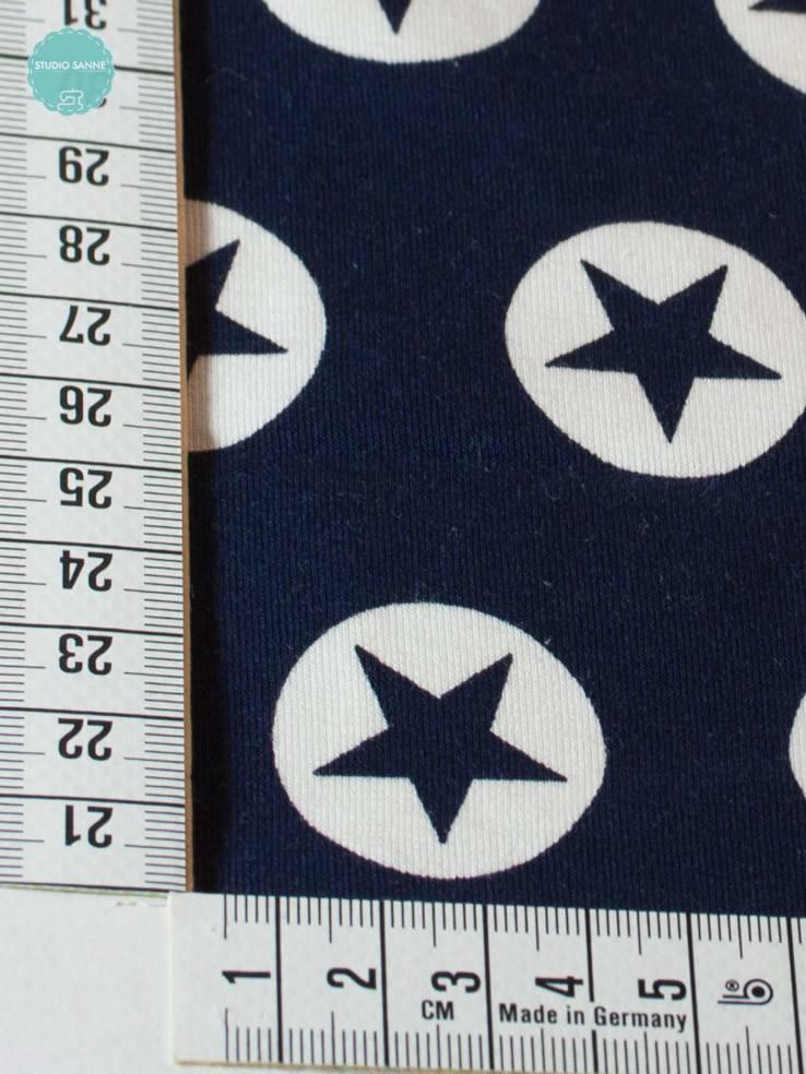 Bedrukte Sweaterstof - All Stars Marine - 12,50 Euro Per Meter