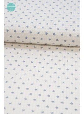 Polytex 11€ p/m - White Blue Stars - Wafeldoek