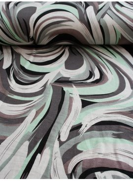 Polytex 3€ p/m - Grafisch Abstract Mint - Bedrukte Tricot