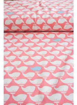 Polytex Tricot - Nautic Whales - Pink - Nu 8,50 Euro Per Meter