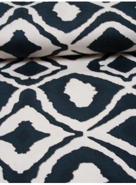 Nooteboom 1,35m op 1,5m - Organisch Patroon Wit Zwart - Elastisch Katoen
