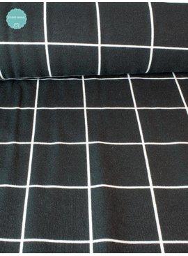 Bedrukte Tricot Wit met Zwart vierkant - 10 Euro Per Meter
