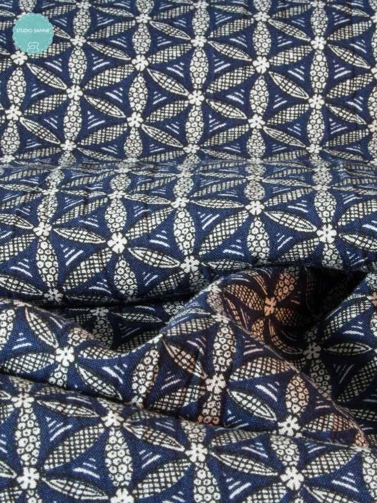 90cm op 1,40m - Bloem Blauw Zwart - Viscose