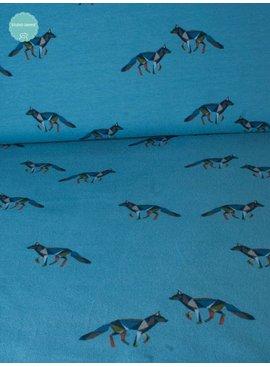 0,95m op 1,5m - Origami Wolven Lichtblauw - Bedrukte Tricot