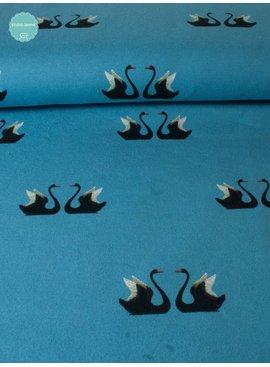 Mies en Moos 8,50€ p/m - Zwanen Blauw - Bedrukte Tricot