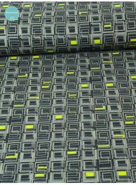 Editex 1,35m op 1,5m - Grijs Fluo Geel - Bedrukte Katoen