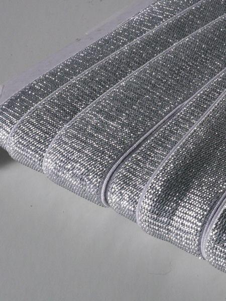 3,50€ p/m - Zilver - Glitter Elastiek