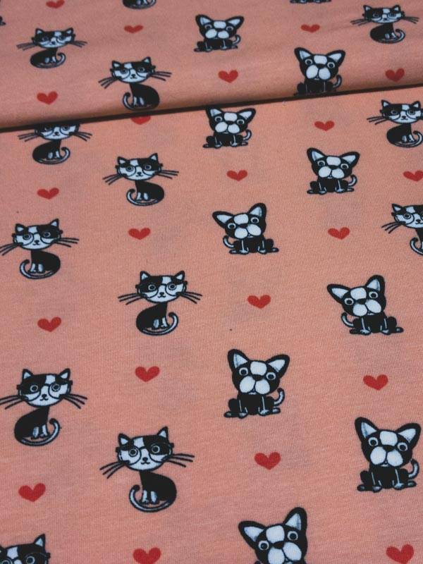 12€ Per Meter - I Love Cats And Dogs Pink - Bedrukte Tricot