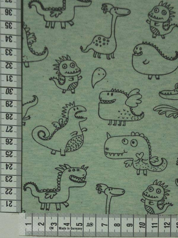 12,50€ Per Meter - Cute Dragons Green - Bedrukte Tricot