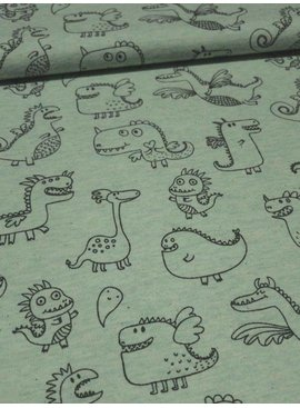 12,50€ Per Meter - Cute Dragons Green - Bedrukte Tricot