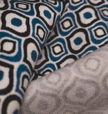 11,50€ Per Meter - Blue Black Drops - Elastisch Katoen
