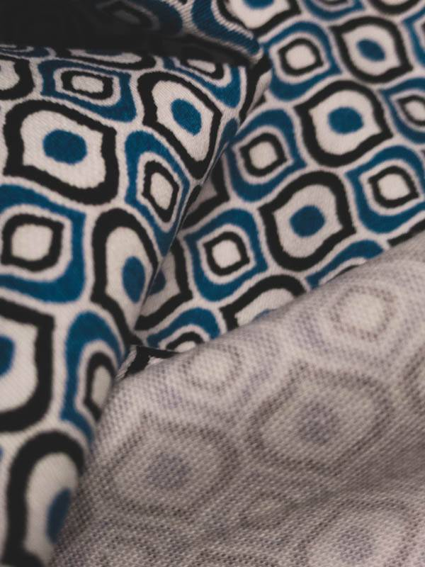 5€ p/m - Blue Black Drops - Elastisch Katoen