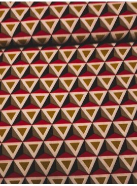 5€ p/m - Piramides Oker Rood - Viscose