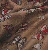 13€ Per Meter - Vlinders Beige - French Terry Viscose