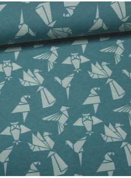 11€ Per Meter - Origami Birds Blue - Bedrukte Tricot