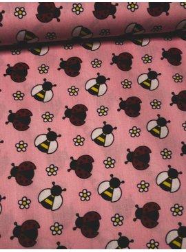 5,50€ p/m - Ladybug Pink - Bedrukte Katoen