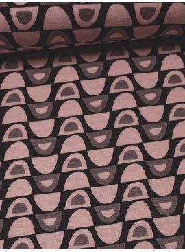 Nooteboom 1,4m op 1,5m - Grijs Roze Tekening - Bedrukte Viscose Tricot