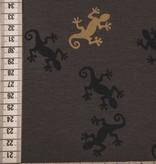 14€ Per Meter - Donkergrijs Salamanders - Bedrukte Tricot