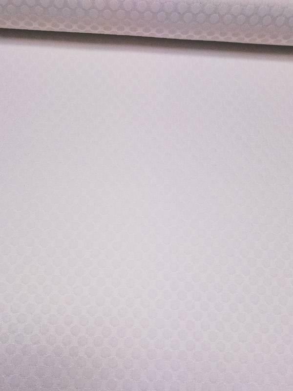 16€ Per Meter - Polkadot Wit Structuur - Elastisch Katoen