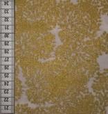 14€ Per Meter - White Allium Gold - Bedrukte Katoen