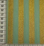 14€ Per Meter - Mint Stripes Gold - Bedrukte Katoen
