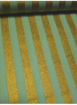 14€ Per Meter - Mint Stripes Gold - Bedrukte Katoen