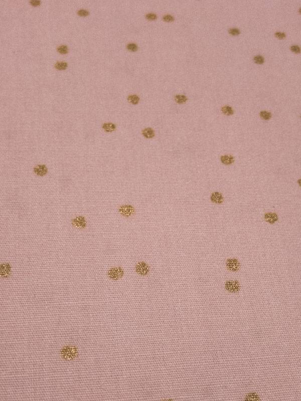 14€ Per Meter - Rose Dots Gold - Bedrukte Katoen