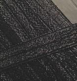 0.80€ p/m - Zwart - Elastische Glitter Biaisband