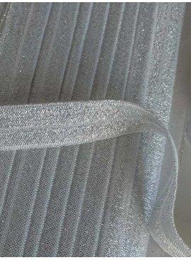 0.80€ p/m - Wit - Elastische Glitter Biaisband