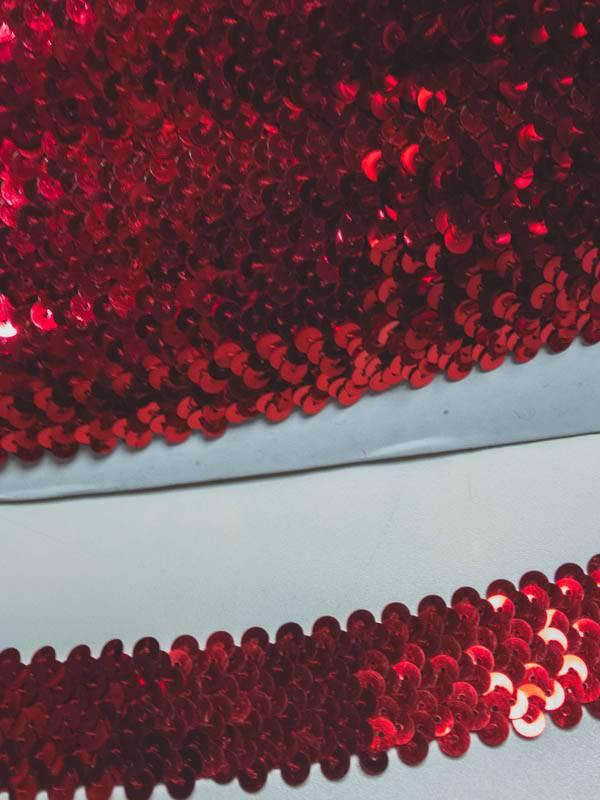 1,50€ Per Meter - Rood - Paillettenband Elastisch