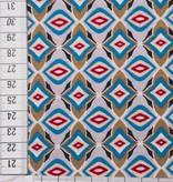 10€ p/m - Retro Blauw Grijs - Bedrukte Viscose Tricot