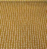 7€ p/m - Flow Dots - Mosterdgeel - Decoratiestof