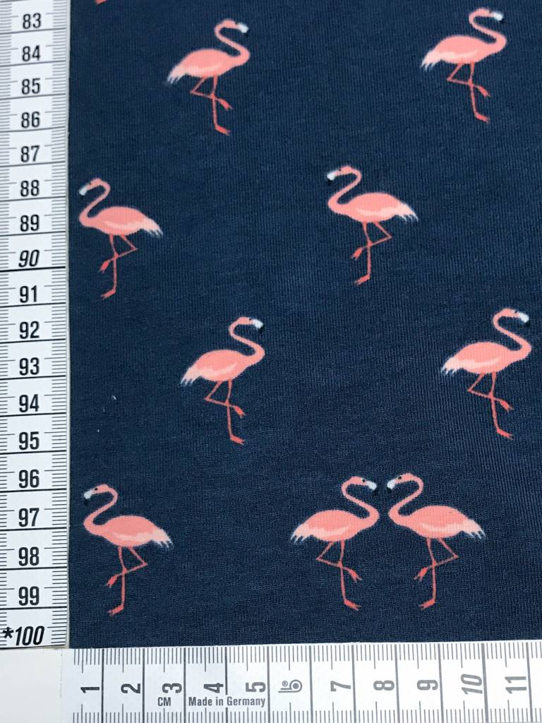 14€ Per Meter - Marine Flamingo's - Bedrukte Tricot