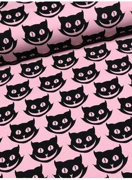 7€ Per Meter - Smiling Cats - Bedrukte Tricot