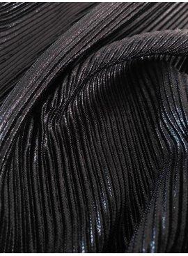 8€ p/m - Onregelmatige Plissé Shiny Zwart