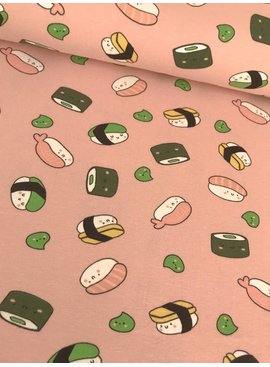 11€ p/m - Pink Sushi - Bedrukte Tricot